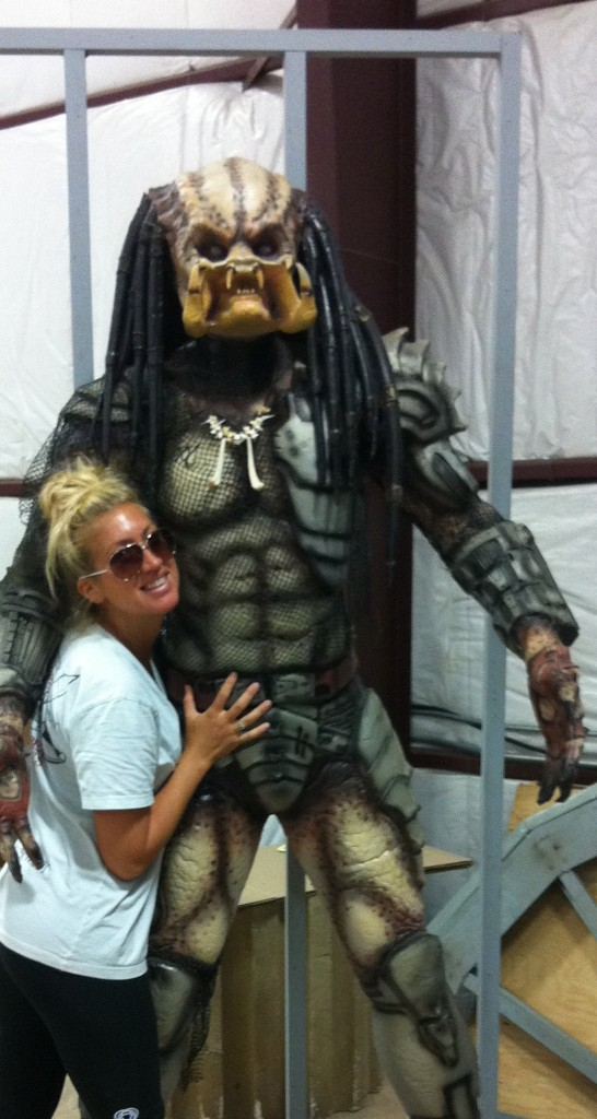 Me posing with Predator, just one of the many extraordinary props available for purchase on my Grandma's site!