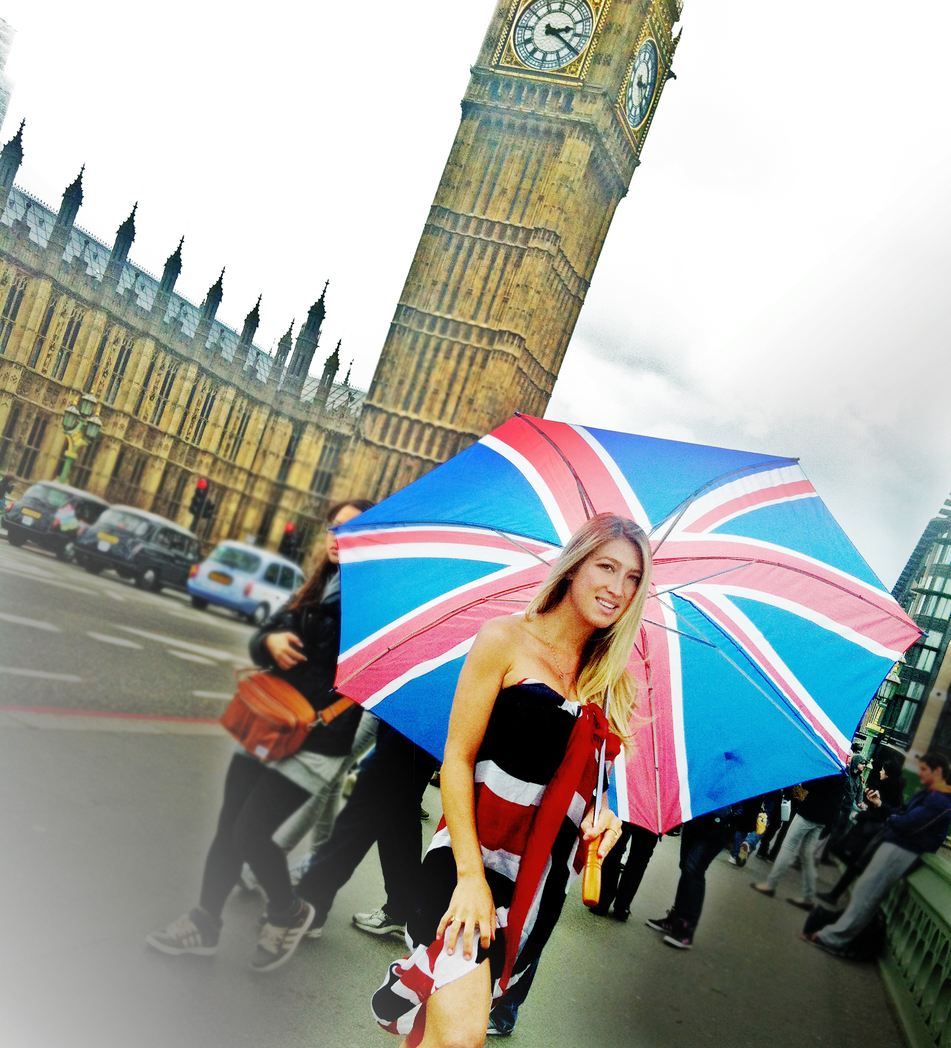 Trying to make wearing a British flag and holding a dorky British umbrella sexy but it's not really working! LOL