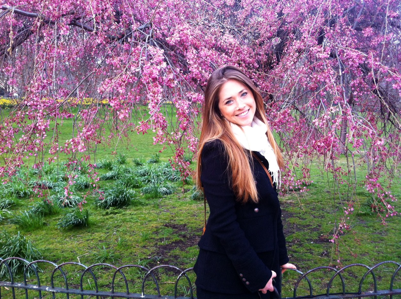 Anna posing in front of a Cherry Blossom tree in Buckingham Palace Gardens