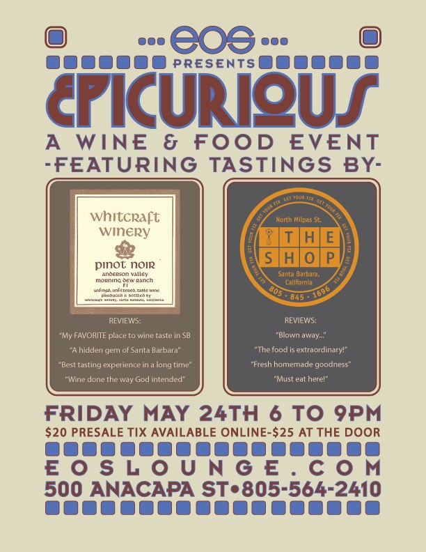Tickets for EPICURIOUS are $20 online or $25 at the door. Get your now at: Pre-sale tickets go on sale today. Get yours here: http://www.eoslounge.com/Other/Purchase-Tickets/14979932_aeL22