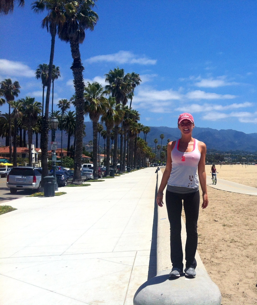 """Heading out for my first run after """"the fall"""" LOL Luckily you can't see how bad my knee looks under my yoga pants!"""
