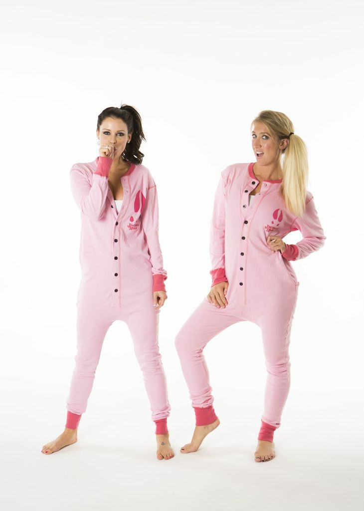 Dorking out with Misha in our super sexy pink onesies! LOL