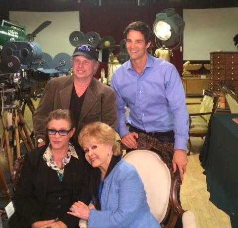 Grandma with my Dad Todd Fisher & aunt Carrie Fisher at DR Studio, doing an interview with ET's Rob Marciano. Carrie just flew in from London where she has been working on the new Star Wars. Todd has set up the studio and prepared for the Auction!