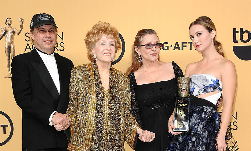 Debbie Reynolds, Carrie Fisher, Todd Fisher and Billie Lourd at the SAG Awards